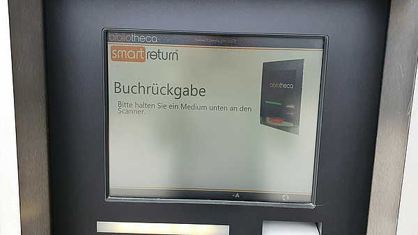 Book return machine at the main entrance