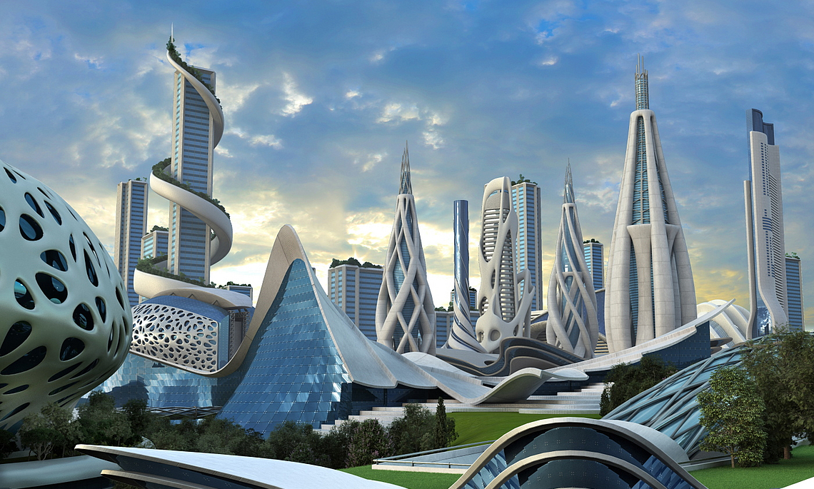 illustration of a futuristic city with high-rise buildings in an organic architectural design