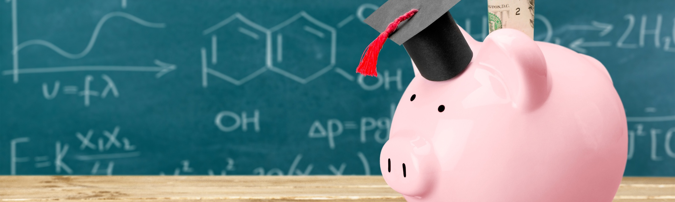 A piggy bank with a doctoral cap stands in front of a blackboard with scientific equations