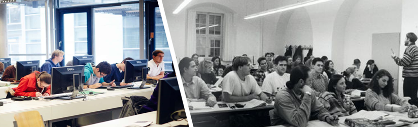 The left part of the picture shows a current lecture with students sitting in front of computers. The right section shows a lecture from the time the THI was founded in the 1990s.