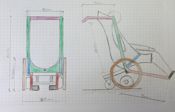 Drawing of a wheelchair model