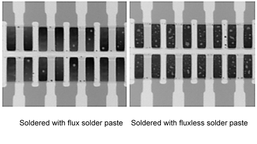 Fig.: A comparison on the level of void formation in solder with flux paste and the fluxless solder