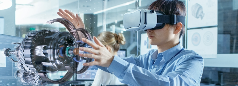 Image of young man working with VR glasses