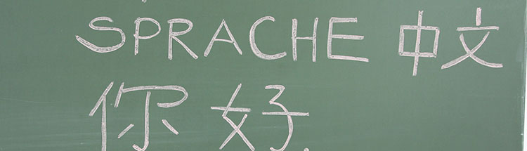 A blackboard with German and Chinese writing
