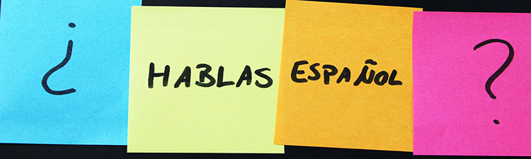 "Four colorful Post-its with the question ""Hablas espanol?"""